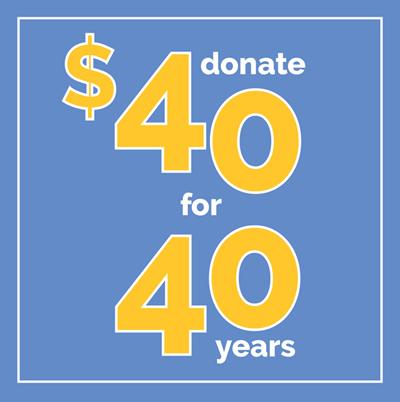 4oth Anniversary Donation Logo Image